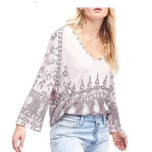 Free People Medallion Lilac Printed Tunic Boho Top